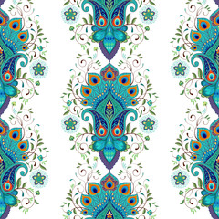 Seamless vector background with oriental pattern. Ornament with peacock feather elements.