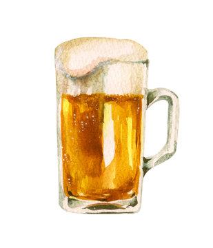 ビール ジョッキ 水彩 イラスト