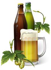 Beer mug, hops, two beer bottles