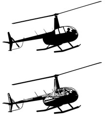 helicopter silhouette and sketch - vector
