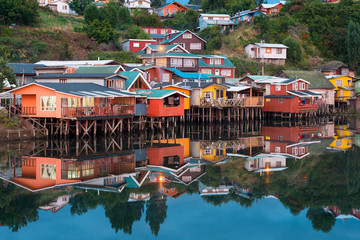 Traditional stilt houses know as palafitos in the city of Castro at Chiloe Island in Southern Chile Wall mural