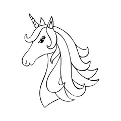 Beauty unicorn horse in doodle style.