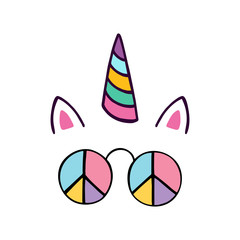 Funny unicorn with hippie glasses.