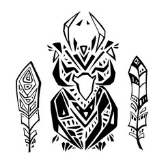 Crow in ethnic style. Hand drawn vector illustration