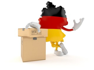 German character with stack of boxes