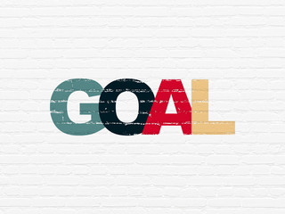 Advertising concept: Painted multicolor text Goal on White Brick wall background