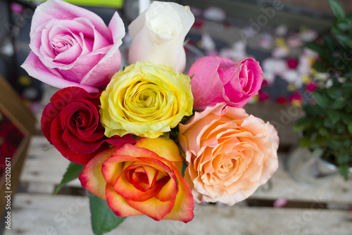 Bouquet De Roses Multicolore Stock Photo And Royalty Free Images On