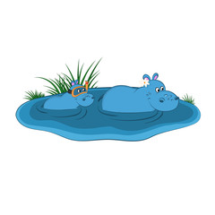 Animals of zoo. Hippo family in lake in cartoon style. Isolated cute characters. Vector illustration