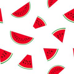 Seamless Pattern with Watermelon Slices with Seeds, Juicy Fresh Summer Fruit, Vector Illustration