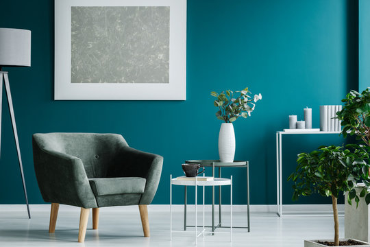 Silver painting in blue room