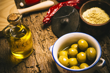 Extra virgin olive oil and olives