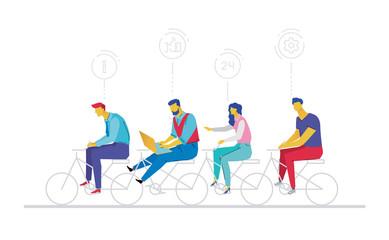 Business team - flat design style colorful illustration
