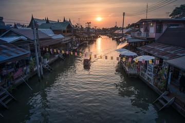 Boat in the river at Amphawa market Samut Songkram