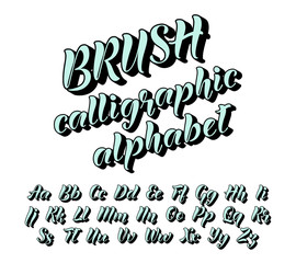 Calligraphic brush alphabet. Letters with shadow for poster, headline, decorative lettering. Vector illustration.