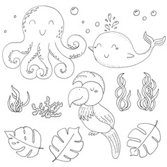 Illustration Vector doodle set with animals. vector print.. Icons and symbols hand drawing sketch