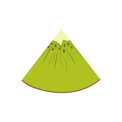 Slice of Kiwifruit Isolated on White Background, Juicy Fresh Summer Fruit, Vector Illustration