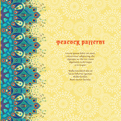 Vector card with floral oriental border. Ornament with peacock feather elements and abstract backdrop. Place for your text.