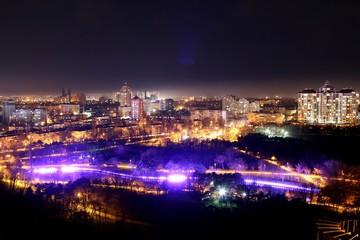 Night city lights of Park Avenue