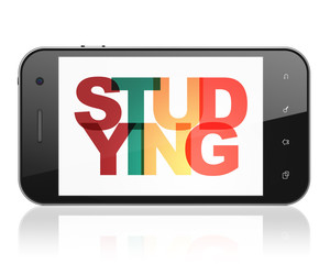 Learning concept: Smartphone with Painted multicolor text Studying on display, 3D rendering