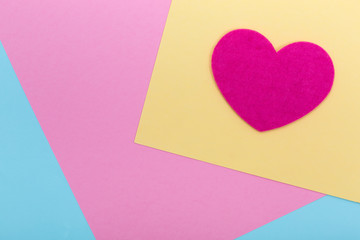 Heart shape on serenity colored paper texture