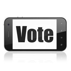Politics concept: Smartphone with  black text Vote on display,  Tag Cloud background, 3D rendering