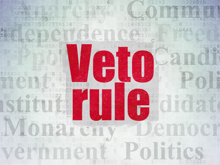 Political concept: Painted red text Veto Rule on Digital Data Paper background with   Tag Cloud