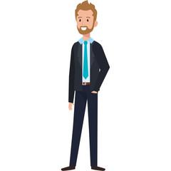 businessman with beard avatar character icon vector illustration design