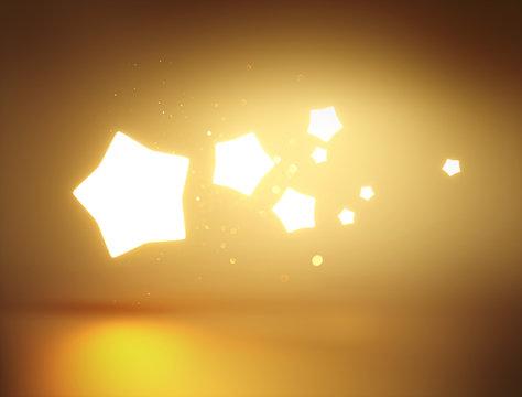 Magic golden glowing 3D stars illustration.