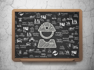 Industry concept: Chalk White Factory Worker icon on School board background with  Hand Drawn Industry Icons, 3D Rendering