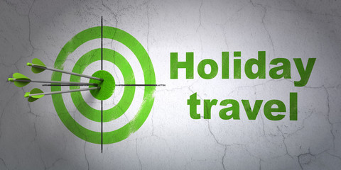 Success vacation concept: arrows hitting the center of target, Green Holiday Travel on wall background, 3D rendering