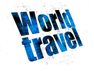 Vacation concept: Pixelated blue text World Travel on Digital background