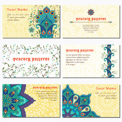 Set of six horizontal business cards. Round oriental traditional paisley flowers with peacock feathers. Abstract backdrop. Place for your text.