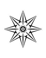 Decorative eight-pointed star in a black - white colors