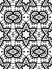Seamlesss pattern with a hexagonal stars in a black - white colors