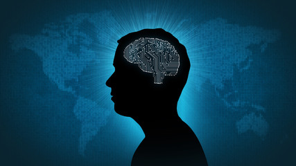 Male silhouette with computer brain against numerical information image of Earth