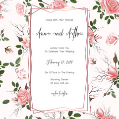 Save the date card, wedding invitation, greeting card with beautiful roses flowers