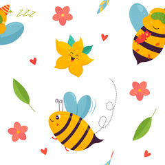 Bright pattern with bees, carambola and elements