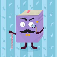 Childish smiling detective book. education concept