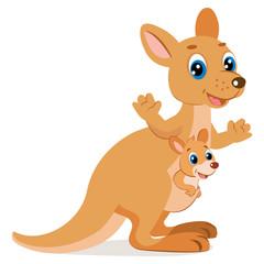 Wallaroo Encounter. Cartoon Animals Vector. Mother Kangaroo With Her Little Cute Baby Kangaroo. Happy Mom Wallaby Character.