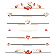Pages decoration with poppies and bees