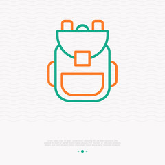 Backpack thin line icon. Modern vector illustration of schoolbag.