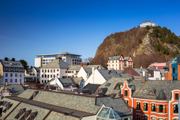 Architecture of the town and viewpoint hill of Alesund, Norway