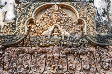 Banteay Srei temple close-up carving, Cambodia