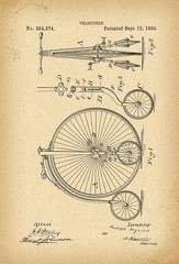 1882 Patent Velocipede Bicycle history  invention