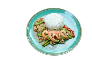 spicy stir fried minced pork and shrimp with basil leaf on rice