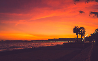 Beautiful pink, red and yellow colored sunset sky with silhouettes of people and palm trees at seaside in Nice, Cote d'Azur, France