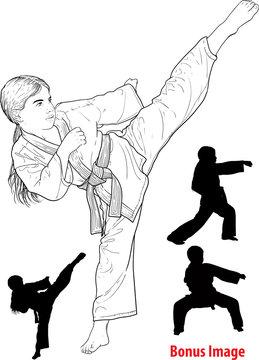 Girl practicing karate