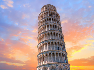 pisa leaning tower close up detail view at sunset Wall mural