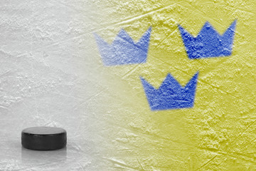 Image of a Swedish flag with a hockey puck