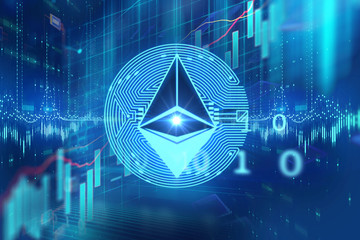 ethereum icon on abstract technology illustration